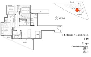 Harbour View Gardens Floor Plan 3BR+Guest - D2
